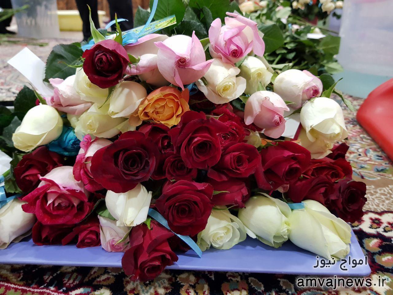 اهدا ۶۷۰ شاخه گل رز طبیعی به مردم به مناسبت آغاز امامت مهدی صاحب زمان